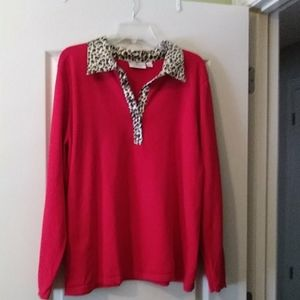 Full fashioned long sleeves sweater with animal pr